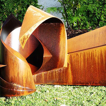corten steel garden sculpture by eddie roberts
