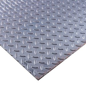 sheet of steel checker plate also known as diamond plate, tread plate and durbar floor plate