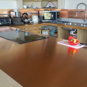 copper sheet kitchen splashback and copper kitchen worktop