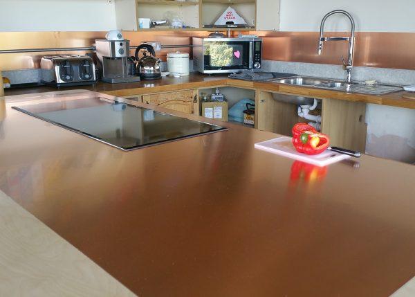 copper sheet kitchen splashback and copper kitchen worktop