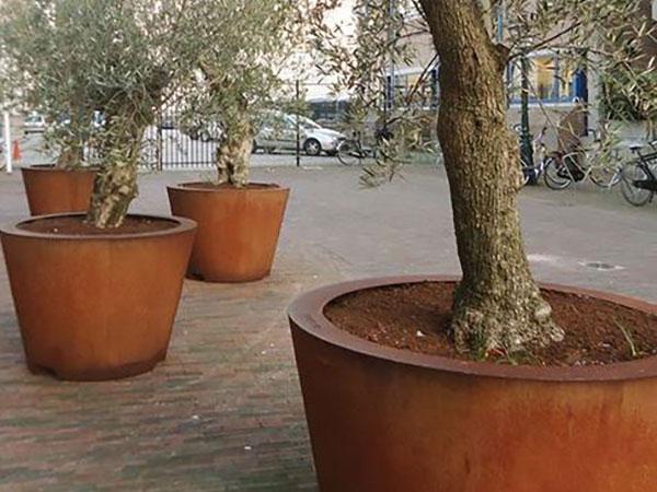 corten steel large tapered tree planters