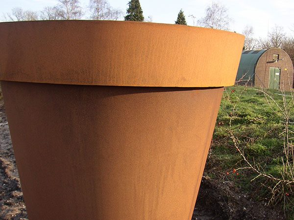 corten steel large plant pot garden feature