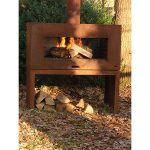 Enock Wide Steel Outdoor Fire Unit - Wall Hung - Heat Resistant 9005 - 1000 x 500 x 1000