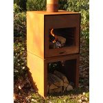 Thor Narrow Steel Outdoor Fire Unit - Wall Hung - Untreated - 550 x 500 x 550