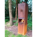 Borr Large Steel Industrial Style Outdoor Fire Unit - 500 x 500 x 2000 - Heat Resistant 9005