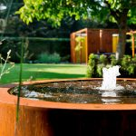 Corten Steel Circular Water Table - 1450 x 750