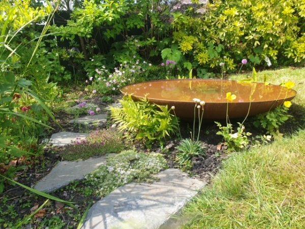 corten steel water bowl garden feature
