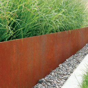 corten steel edging used as raised bed