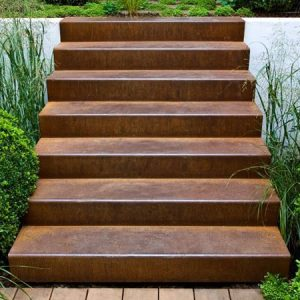 corten steel stairs in garden