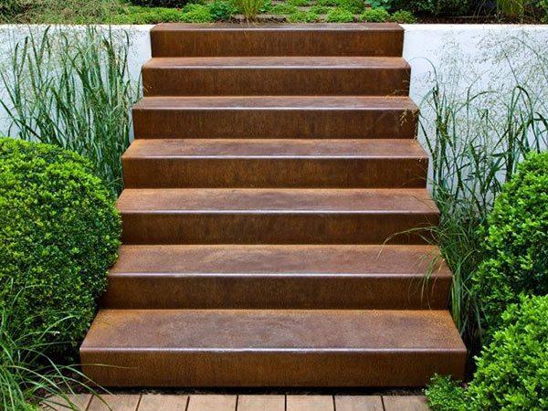 corten steel stairs in garden