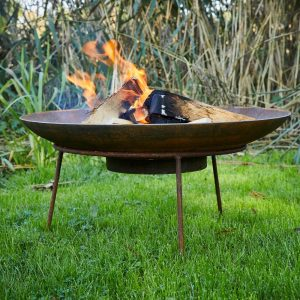 corten steel fire bowl on stand