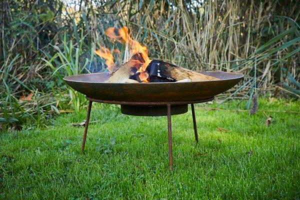 corten steel fire bowl on stand