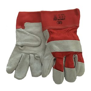 red and grey work gloves