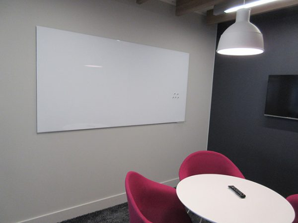 magnetic white board in meeting room