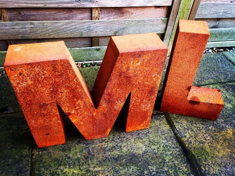 large corten steel letters