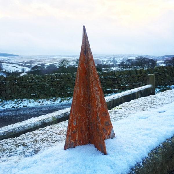 corten steel christmas tree outdoors