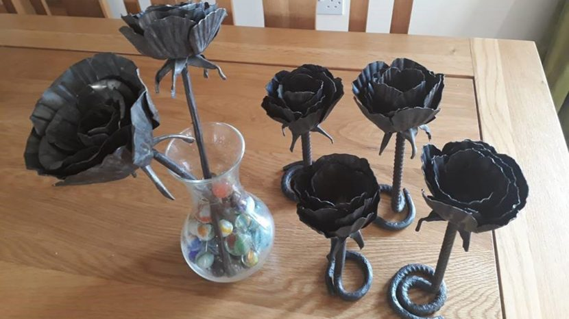 rose sculptures made with metal