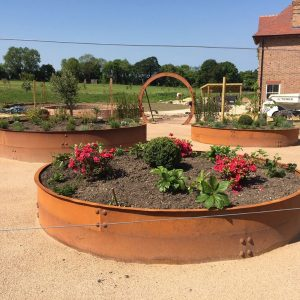 corten steel circular raised beds