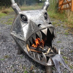 dragon head log burner, made with metal