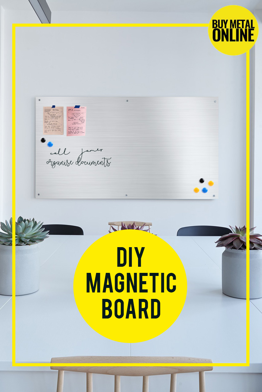 DIY metal board, galvanised steel board, how to make metal board, how to make magnetic galvanised steel board