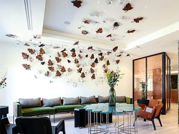 corten steel leaves in restaurant, interior decor