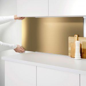 brass kitchen splashback