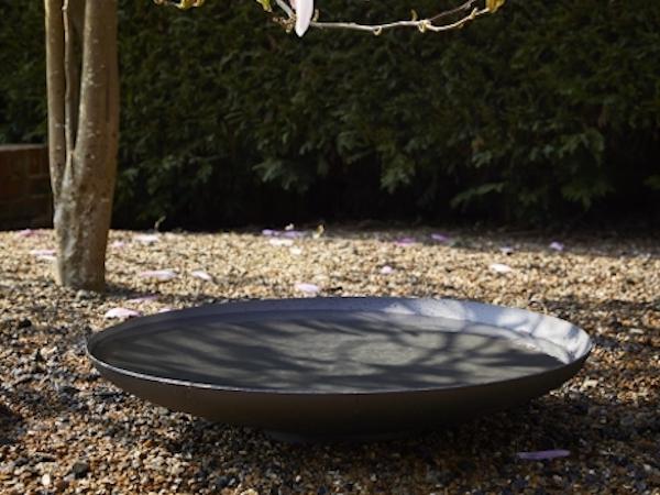 powder coated steel water bowl, 60cm diameter, garden water feature
