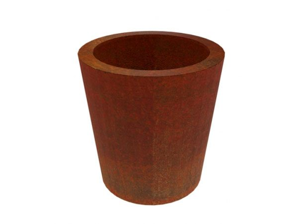corten steel round tapered garden planter