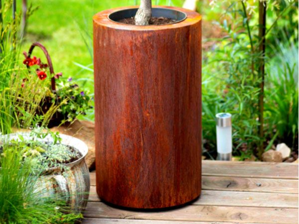 corten steel round garden planter
