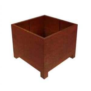 corten steel square garden planter with feet