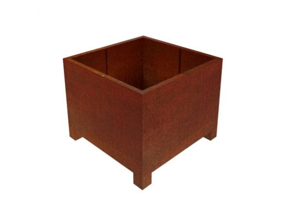 corten steel square garden planter with feet