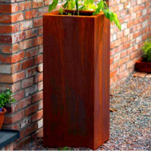 corten steel rectangular garden planter