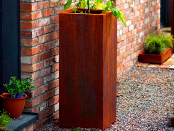corten steel rectangular garden planter