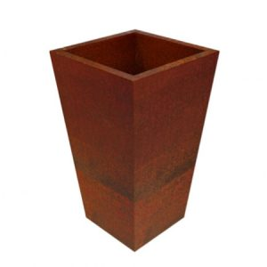corten steel square tapered planter