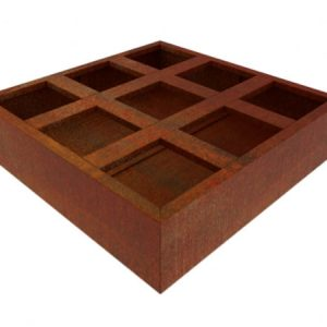 corten steel vegetable planter divided into 9 quadrants, alternative to raised bed