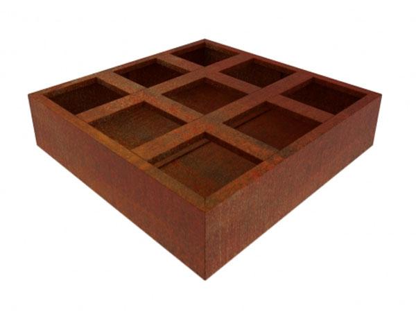corten steel vegetable planter divided into 9 quadrants, alternative to raised bed