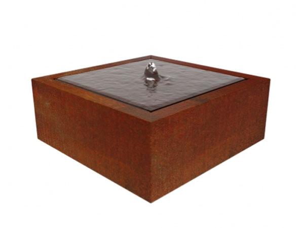 corten steel square water table