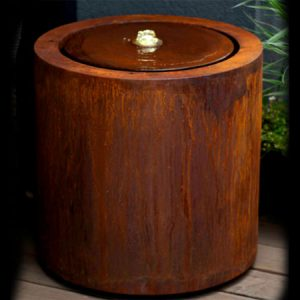 corten steel cylindrical water table