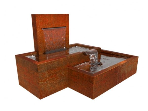 corten steel pond, large cascading water feature