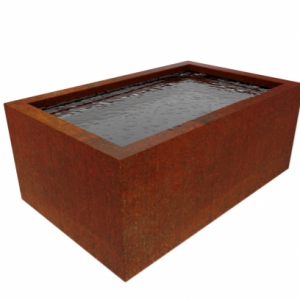 corten steel large rectangular pond