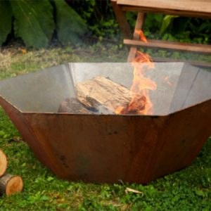 corten steel hexagonal fire pit