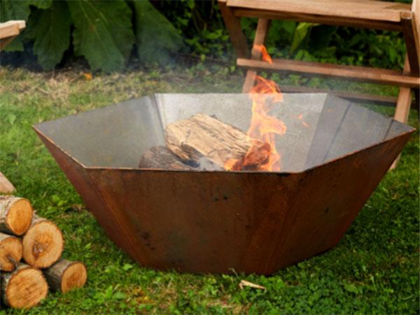 corten steel hexagonal fire pit