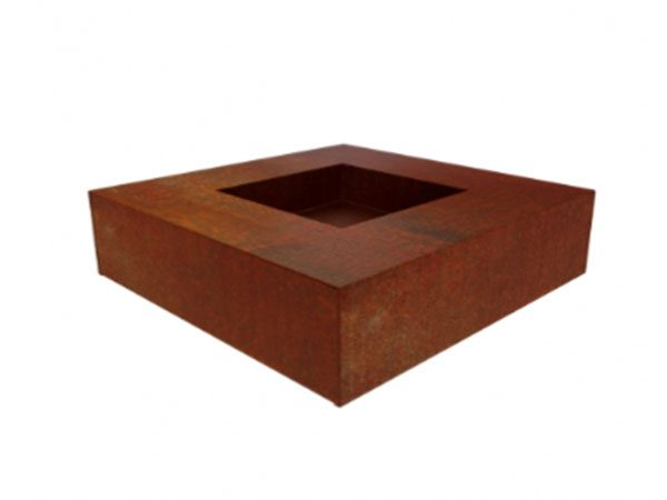 corten steel square fire pit