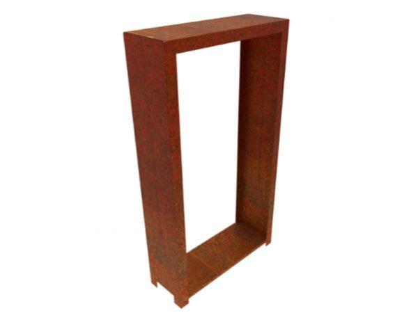 corten steel tall rectangular wood store with feet