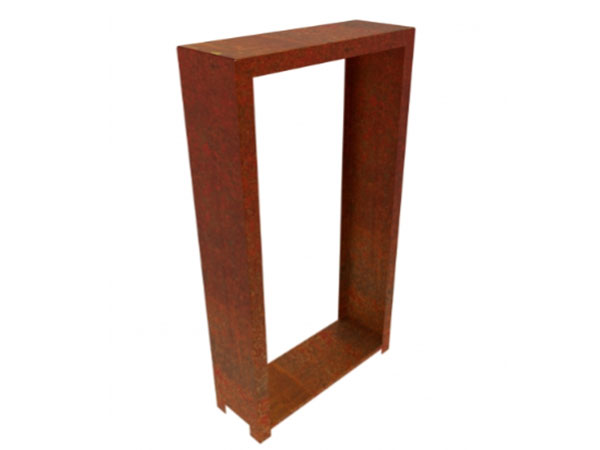 corten steel tall rectangular wood store with feet