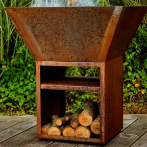 corten steel outdoor burner with wood storage