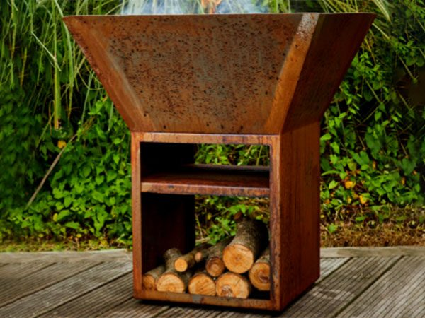 corten steel outdoor burner with wood storage
