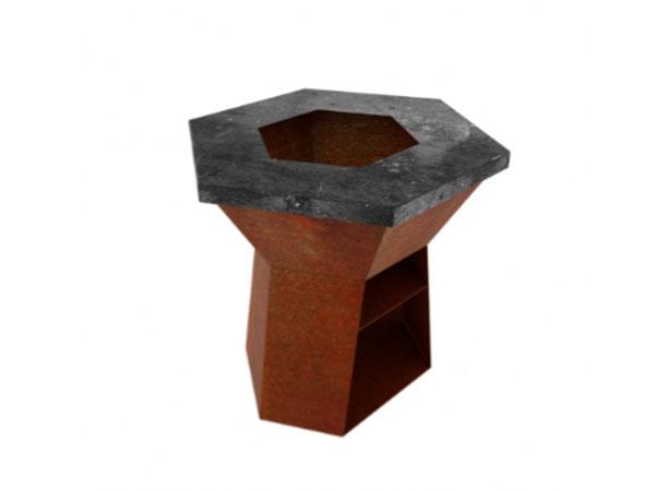 corten steel hexagonal burner