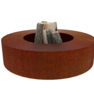 corten steel garden feature, circular fire pit