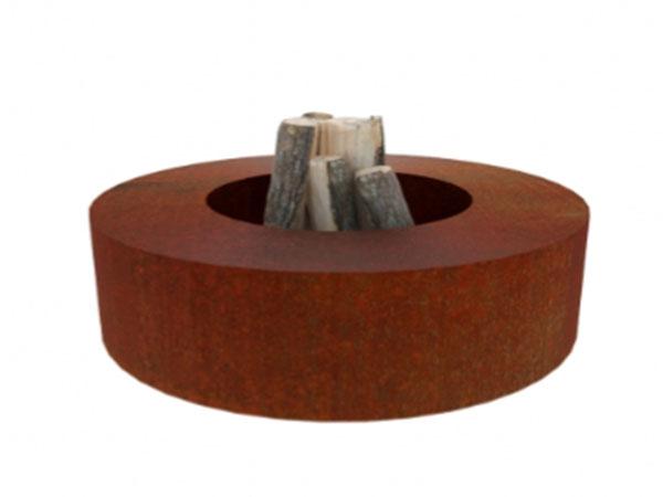 corten steel garden feature, circular fire pit